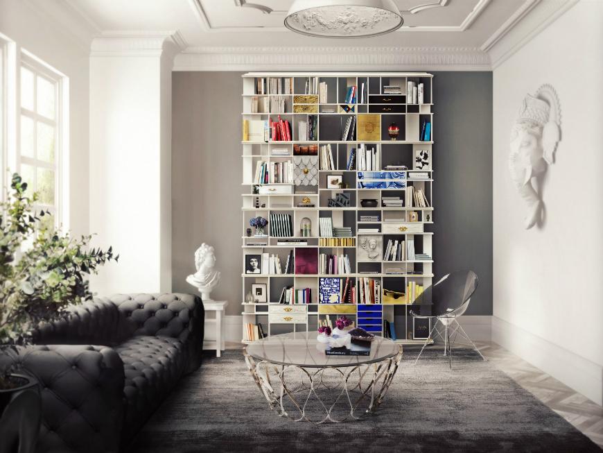 Black and White Living Room Ideas  15 Black and White Living Room Ideas Using the Best Coffee Table Designs COLECCIONISTA Bookcase Boca do Lobo 101967 rel31701dd2