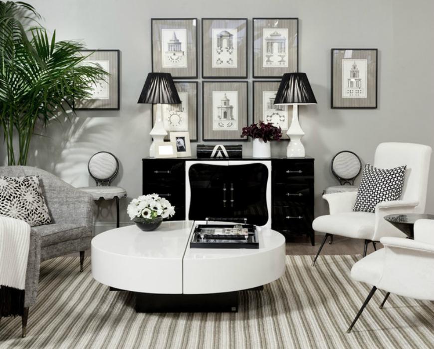Black and White Living Room Ideas  15 Black and White Living Room Ideas Using the Best Coffee Table Designs CelerieKembleOnMartha 060a