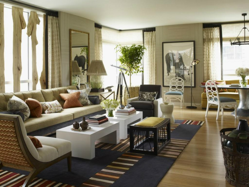 Décor Tricks with American Influence winsome colonial style in the interior white wallpaper rug under cushions beside window plus white tables beside table plus lamp table front mirror and mural between
