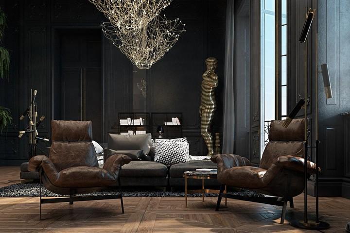 living room design Improve Your Living Room Design With Dark Tone Furniture Sophisticated Paris Apartment by Irina Dzhemesyuk Vitaly Yurov 08 1